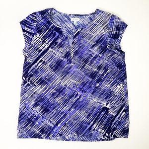 Susina Blue Black White Blouse V Neck M